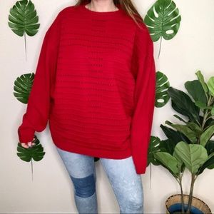 Vintage Palazzo Knit Wool Blend Crew Red Sweater